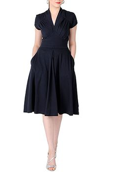 I really like the color, neckline, pockets, length and style of this dress.