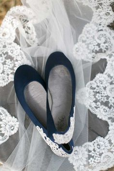 Navy blue wedding shoes with a  gorgeous lace applique | Kennedy Blue