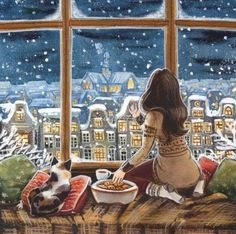 Celebrate Each New Day: Photo Illustration Noel, Illustrations, Christmas Art, Anime Art Girl, Cat Art, Cartoon Art, Cute Wallpapers, Folk Art, Art Drawings