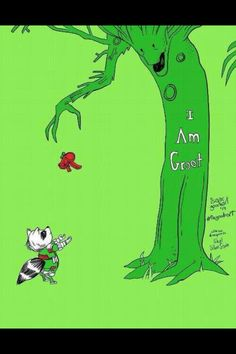 Gardians of the Galaxy: Rocket and Groot, the giving tree art.