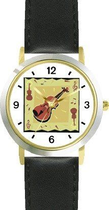 Violin with Music Motifs - Musical Instrument - Music Theme - WATCHBUDDY® DELUXE TWO-TONE THEME WATCH - Arabic Numbers - Black Leather Strap-Size-Children's Size-Small ( Boy's Size & Girl's Size ) WatchBuddy. $49.95. Save 38%!