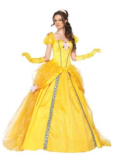 Beauty And The Beast Bell Yellow Long Dress Halloween Costume Belle Cosplay Princess Dress Disney Princess Belle, Princesses Disney Belle, Princesa Disney Bella, Princess Belle Costume, Disney Princess Costumes, Princess Beauty, Adult Belle Costume, Princess Dresses, Disneyland Princess