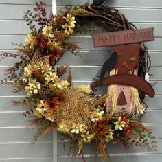 pinterest autumn spindles scarecrows | Happy Harvest Fall Scarecrow Wreath!