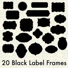 INSTANT DOWNLOAD - 20 Digital Black Label Frames Borders for Scrapbooking Cards - Commercial Use - 20 Pieces - Png Files - 300 DPI via Etsy
