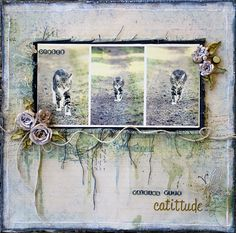 """""""Walking with Catitude"""" layout with Video Tutorial on creating the patchwork stamped background.  - Michelle Grant Designs blog"""