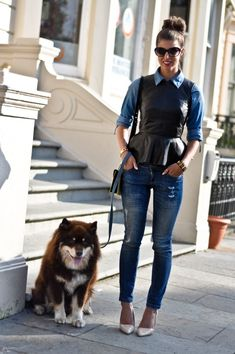 I love the leather peplum shirt over the jean shirt. Uk Fashion, Asos Fashion, Fashion Finder, Fashion Outfits, Mango Fashion, Peplum Top Outfits, Pants Outfit, Stylish Outfits, Cute Outfits