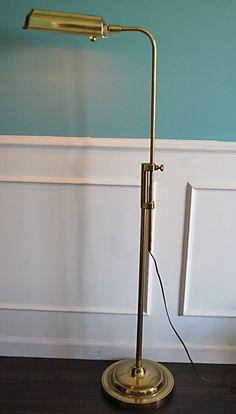 Stiffel Mid Century Modern Adjustable Brass Pharmacy Floor Reading Lamp Marked