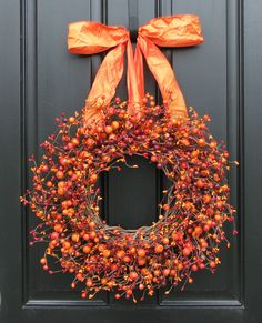 I love the gorgeous color of this beautiful fall wreath! Fall Wreath - Harvested Berries - Autumn Decorations - Orange Berry Wreaths - Door Wreath, home decor, Harvest Decorations, Thanksgiving Decorations, Holiday Decor, Dyi Couture, Corona Floral, Berry Wreath, Autumn Decorating, Autumn Wreaths, Wreath Fall