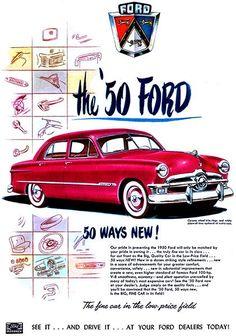 1950 Ford Custom Ford Sedan - Vintage and Retro Cars American Classic Cars, Ford Classic Cars, Classic Auto, Ford Motor Company, Retro Advertising, Vintage Advertisements, Pub Vintage, Ad Car, Ford News