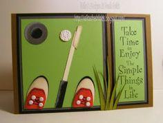 Valita's Designs & Fresh Folds: Fun Golfer Punch Art card
