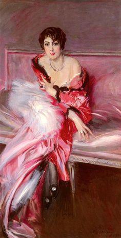 ▴ Artistic Accessories ▴ clothes, jewelry, hats in art - Giovanni Boldini | Portrait Of Madame Juillard In Red