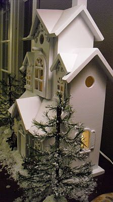 lighted Christmas cottage-- I would have found this charming as a little child!
