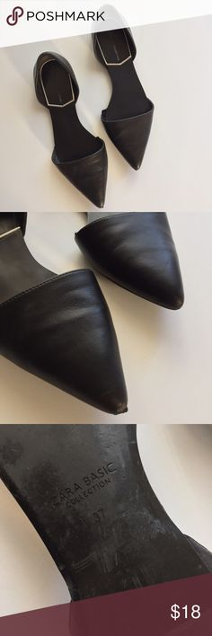 Zara Dorsey flats Basic Zara collection. Gently used. Fits true to size. Slight scuff at the tip of the shoe other wise great condition. Very comfortable! Just bought new flats so trying to clear my shoe closet Zara Shoes Flats & Loafers