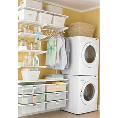 Have this small laundry closet. Maybe this idea would work. Laundry Organization @ Home Improvement Ideas
