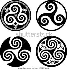 Black isolated celtic triskels set in rounds, vector elements for your design