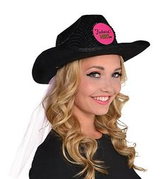 184ed94b3e2 Stand out on your last night out with our Black Future Mrs. Cowboy Hat with  Veil. Bride cowboy hat puts a Western twist on your bachelorette party ...