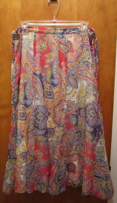 COLDWATER CREEK Modest Skirt Womens Size Large Pink Yellow Blue Paisley Lined #ColdwaterCreek #ALine