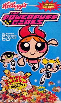My favorite cereal: Powerpuff Girls Cereal Box Kids Cereal, Cereal Boxes, Discontinued Food, Cereal Packaging, Types Of Cereal, Cereal Killer, Cereal Recipes, Powerpuff Girls, Morning Cartoon