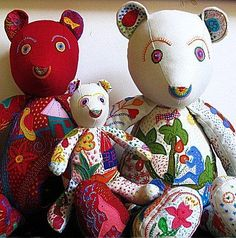 Hand embroidered bears
