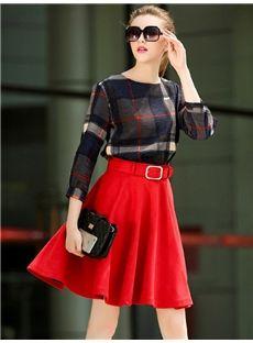 欧米セレブ愛用新品 2015秋大物チェック柄上着+大振り子スカート2点セット