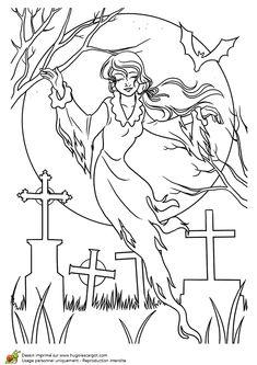 Coloriage d'un fantôme survolant un cimetière