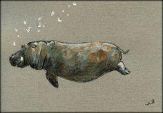 PRINT-Hippo hippo swimming print of by SanMartinArtsCrafts on Etsy
