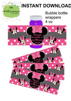 Minnie Bubble bottle label- Instant Download - Minnie Party Label - Party Favor - Hot pink polka dots label by OKprintables on Etsy
