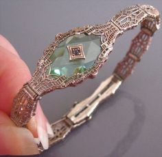 Art Deco Peridot Camphor Glass, Crystal, Filigree, Sterling Silver, Signed Bracelet.