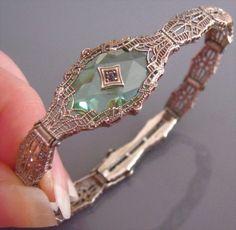 Art Deco PERIDOT Camphor Glass Crystal FILIGREE Sterling Silver Signed Bracelet x