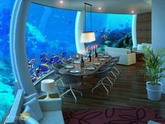 Poseidon submerged hotel in Fiji Islands. This elegant submerged hotel is located on a coral reef in the Fiji Islands.Located more than 12 meters deep. Underwater Bedroom, Underwater House, Underwater Sea, Underwater Cartoon, Underwater Photos, Hotel Subaquático, Hotel Decor, Beautiful Hotels, Vacation Places