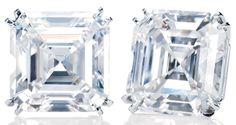Harry Winston Emerald-cut Earstuds.           2 emerald-cut diamonds, 5.06 and 5.04 carats; platinum setting.