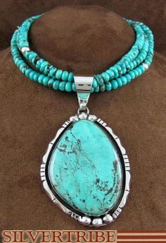 Navajo Jewelry Turquoise Pendant And Bead Necklace Set DS45061