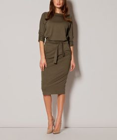 Loving this Olive Boatneck Blouson Dress - Women on #zulily! #zulilyfinds