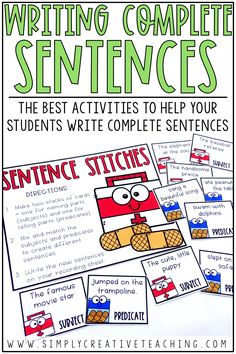 These writing complete sentences resources are perfect for teaching 1st grade, 2nd grade, and 3rd grade students how to write complete sentences. They include anchor charts, posters, worksheets, complete sentence centers, and more! Students will learn about subjects & predicates. They will practice how to expand sentences, how to stretch a sentence, and writing descriptive sentences. This is a great resource for sentence structure!