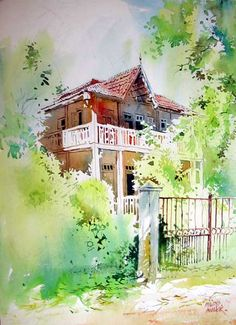 Red House - Painting of an old, two-storeyed red house, with a gate, and plenty of trees around it, donw in watercolors