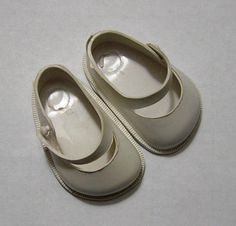 Vintage Fairyland White Doll Shoes No. 1.5 by VictorianWardrobe, $6.99