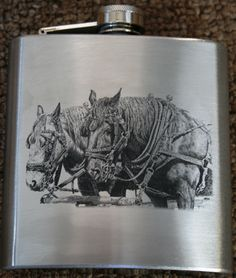 Bernie Brown's 'Partners' laser engraved onto a Stainless Steel 6oz Hip Flask. Engraved and supplied by Prairie Engraving.