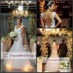 Wholesale Mermaid Wedding Dresses - Buy Sexy Cap Sleeves Lace Mermaid Wedding Dresses 2015 Tulle Applique Sheer Back Court Train Bridal Gowns BO7159, $143.54 | DHgate
