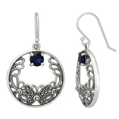 Sterling Silver Marcasite Butterfly Round Sapphire Glass Earrings #Sterling #Silver #Marcasite #Butterfly #Round #Sapphire #Glass #Earrings