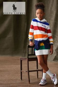 Stylish Girls Streetwear look by Polo Ralph Lauren. Girls White Colorful Rainbow Stripe Hoodie Sweatshirt Dress. Super comfy. Love the blue sweatshirt around the waist. Cool blue and white polo sneakers. Shop the Polo Fall Winter girls collection @ childrensalon (affiliate). #polo #ralphlauren #girlsdress #girlsstreetwear #childrensalon #dashinfashion Sweatshirt Dress, Hoodie, Girls Designer Clothes, Girls Special Occasion Dresses, Polo Ralph Lauren Kids, Baby Girls, Boy Outfits, Hooded Sweatshirts, Streetwear