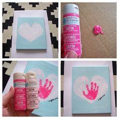 handprint in a heart on canvas. Looks lovely