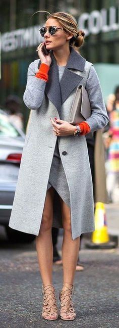 Olivia Palermo discreet color pop NYFW #grey