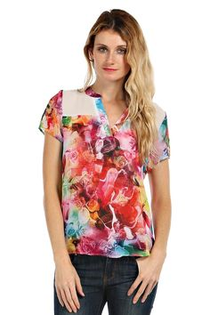 ABSTRACT FLORAL PRINT CHIFFON BLOUSE- Red