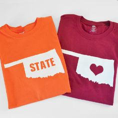 Use these free Silhouette state cut files to make custom and inexpensive state or team themed freezer paper stenciled shirts. An affordable gift!