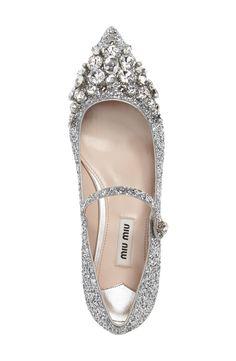 Main Image - Miu Miu Crystal Pointy Toe Mary Jane (Women) - Most Expensive Shoe Brands Miu Miu Schuhe, Miu Miu Shoes, Bling Shoes, Bling Bling, Sparkle Shoes, Pretty Shoes, Beautiful Shoes, Zapatos Shoes, Shoes Heels