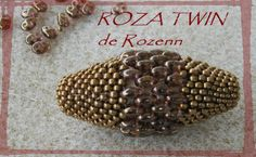 Another beaded bead w/twins. In French. This is covering a 40mm olive shaped wooden bead. #seed #bead #tutorial