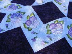 Quilting and hand painted pansies done by debcaven on Quilting Board