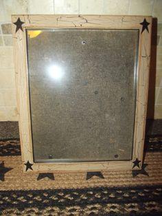 Primitive Crackle Wood Picture Frame 8x10 ~ Black Stars ~ Country Decor #NaivePrimitive