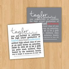 Graduation Announcement or Party Invitation   by kindlyreply, $31.50