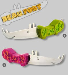Here is a favorite... Rhino Cheese Knife.  Clever design and such funky colours.